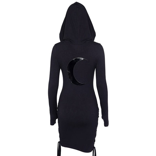 Women Mini Dresses Casual Gothic Black Punk Sexy Bodycon Hooded Plain Hole Print Moon Goth Female Hip Hop Short OL Dress - Unitedzon