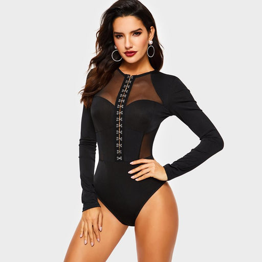Sexy Bodysuit Long Sleeve Women Rompers Spring Metal Button Patchwork Mesh See Through Club Ladies Tops Casual Skinny Body Suit - Unitedzon