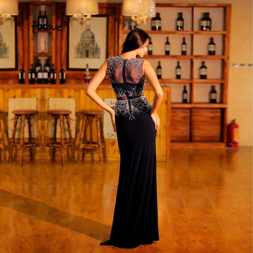 2019 Black Mermaid Evening Dresses O Neck Beadings Prom Gowns Illusion Floor Length Vintage Graduation Party Dresses robe - Unitedzon