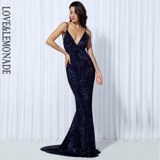 Elastic Sequin V Collar Exposed Back Long Dress NAVY/SILVER/PINK/BLACK/RED/Champagne LM80119 - Unitedzon