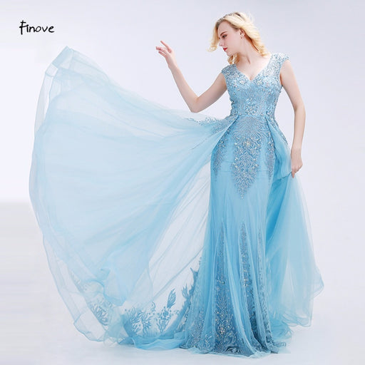 Appliques Prom Dresses 2019 New Styles Elegant Tulle Beading V-Neck Sleeveless Floor-Length Evening Gowns for Party - Unitedzon