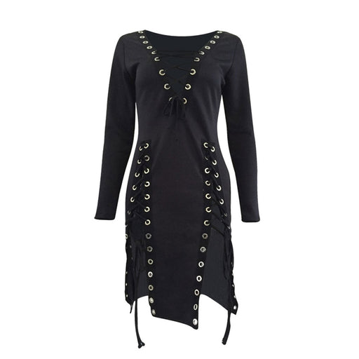 Women Black Dress Sexy V neck Summer Vestidos Verano Gothic Lace Up Dresses Women Sexy Party Dress Plus Size Bandage New - Unitedzon