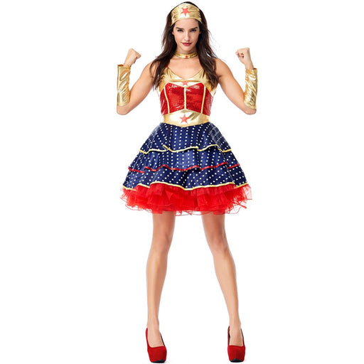 Halloween Dawn Of Justice Superhero Wonder Woman Cosplay Costume for Adult Fancy Dress - Unitedzon