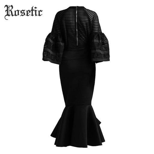 Sexy Mermaid Dress Vintage Black Mesh Flare Sleeve Patchwork Party Elegant Trumpet Zipper Slim Dark Women Casual Dresses - Unitedzon