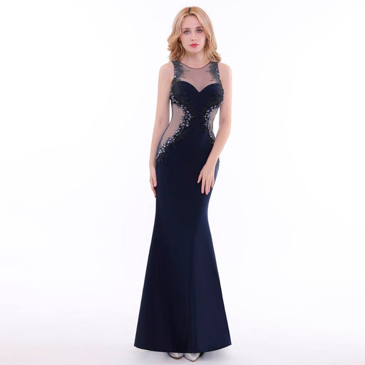 2019 New Woman Evening Dresses Long Elegant Black Sexy See Through Beading Crystals Floor Length Party Gowns - Unitedzon