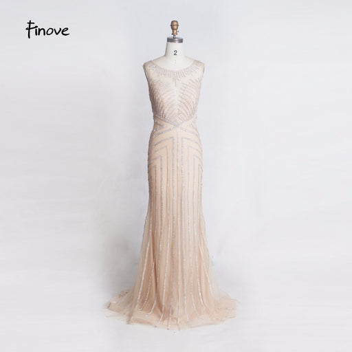 Beading Long Evening Dress 2019 Sexy Illusion O-Neck See Through Back Mermaid Floor Length Party Dress Formal Dress Gowns - Unitedzon