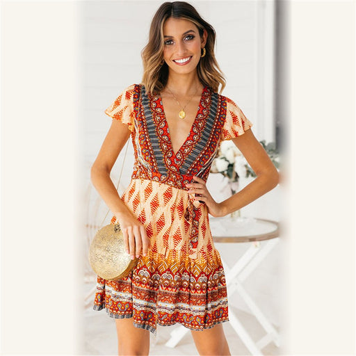 Boho dress floral print summer V-neck  short sleeve Casual women dresses bohemia long dresses - Unitedzon