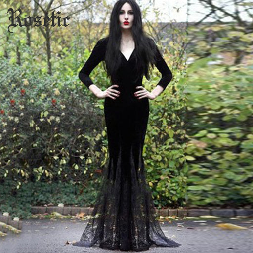 Harajuku Goth Long Autumn Maxi Dress Deep V-Neck Sexy Bodycon Party Dress Party Retro Mesh Plus Size Female Vestidos - Unitedzon