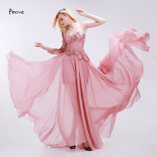 Dusty Pink Bridesmaid Dresses See-Through Tulle with Appliques Beading 2019 Modern Empire One Shoulder Chiffon Dresses - Unitedzon