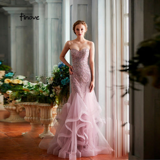 Evening Dress 2019 Sexy Strapless Mermaid Style Line-Up Backless Ruffles Train Floor length Beading Party Gown For Woman - Unitedzon