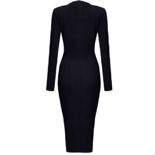 Gothic Women Dress Winter Long Sleeve PU Zipper Lapel Women's Bodycon Dress Sexy Party Club Wear Dresses Women - Unitedzon
