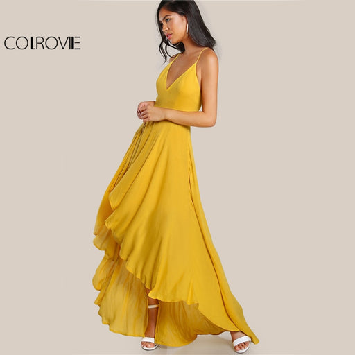 High Low Draped Party Dress Sexy Backless Women V Neck Yellow A Line Summer Dresses Cross Strappy  Slip Maxi Dress - Unitedzon