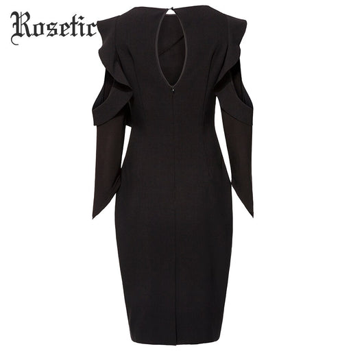 Gothic Bodycon Dress Black Women Autumn Falbala Hollow Patchwork Dress Lady Office Fashion Sexy Elegant Party Goth Dress - Unitedzon