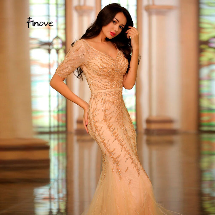 2019 Elegant Champagne Evening Dress Sexy V-Neck Half Sleeves Lace Beading Feathers Formal Mermaid Prom Party Woman Dress - Unitedzon
