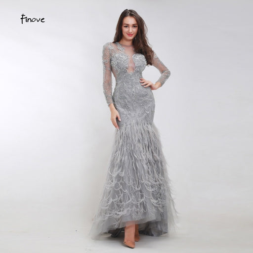 Beading Mermaid Evening Dresses 2019 New Arrivals Sexy Tulle Elegant Feathers Long Sleeves Fashionable Dresses for Women - Unitedzon