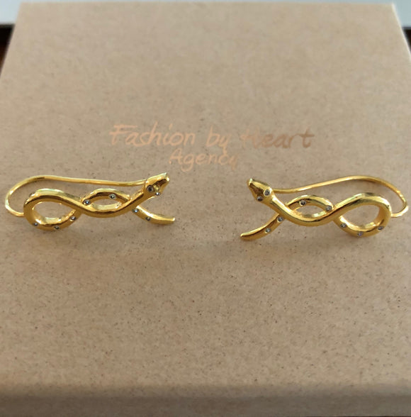 Fashion by Heart øreringe - Snake hanging earrings