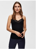 Selected Femme - Single rib, lace top