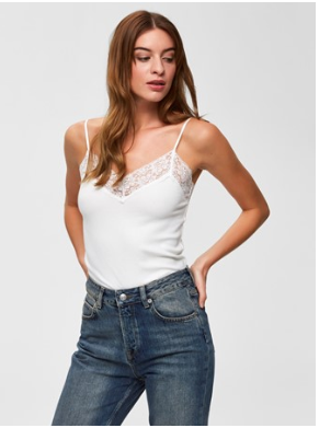 Selected Femme - Single rib lace top