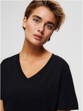 Selected Femme - basis t-shirt med V-hals - Øko