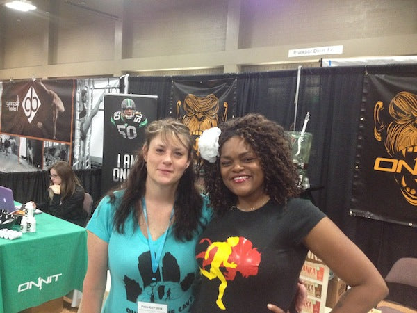Me with Lori Ramsey at the Tanka/Onnit booth. Photo by Darryl Edwards.