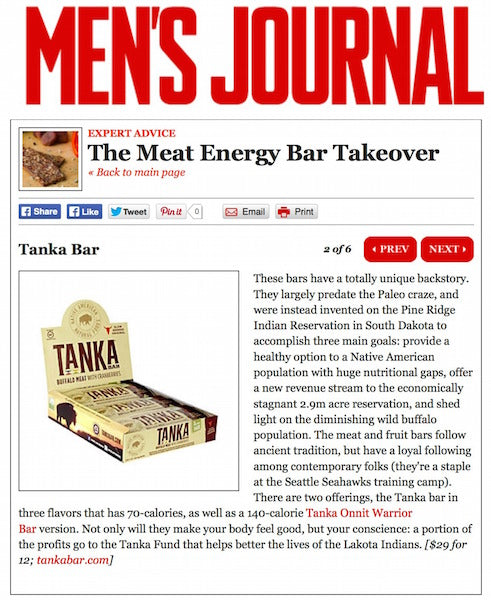 "Men's Journal touts Tanka a top snack in the ""Meat Energy Bar Takeover"""