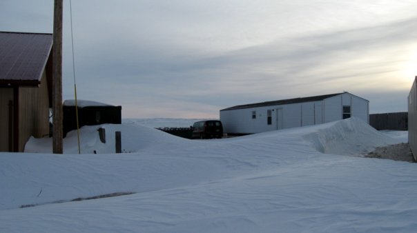 Still buried in snow: View of the back of Tanka HQ