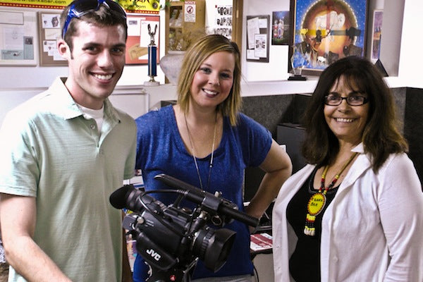 Zach Nugent and Tessa Thomas, KEVN, with Tanka CEO Karlene Hunter.