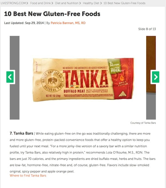 "Tanka Bar featured as one of the ""10 Best New Gluten-Free Foods"" on LIVESTRONG.COM"