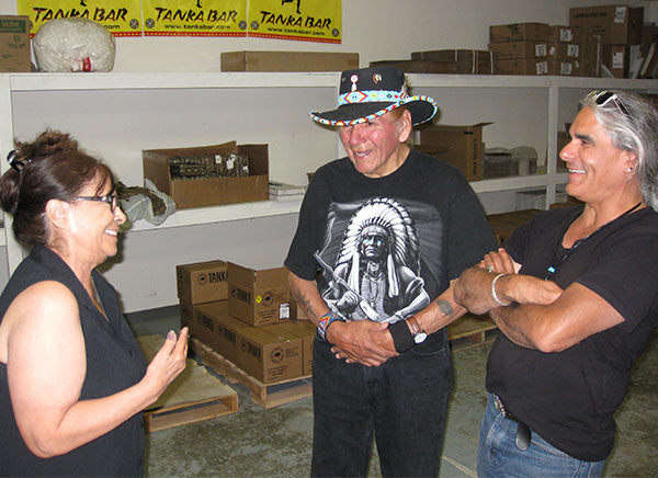 Native American activists and friends stop by Tanka headquarters