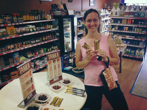 Tasha tried Tanka Bars for the first time at the tasting and loved them so much she bought a few with her groceries!