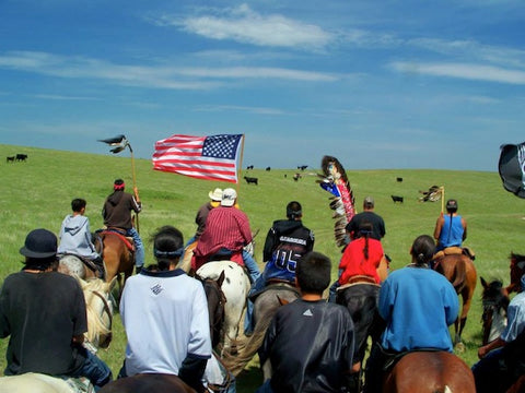 Riders participate in the Crazy Horse Ride which isn't part of the Oglala Lakota Nation Wacipi weekend, but we thought Peter took a great shot.  This ride takes place in June.