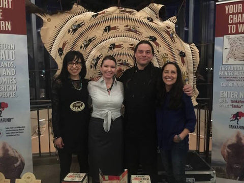Sasha Brown, Christine McCleave and Faye Brown of the Tanka Fund at the North Coast Nosh with The Sioux Chef, Sean Sherman.