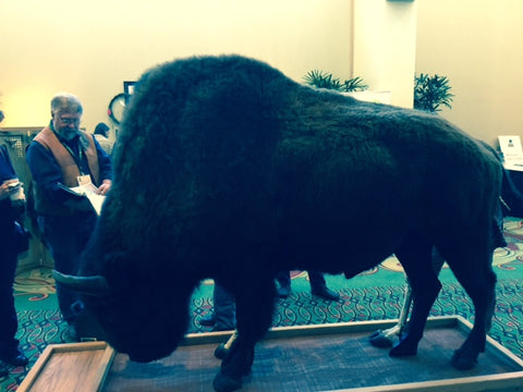 Don Werner with his bison creation. Photos by Mark Tilsen, president.
