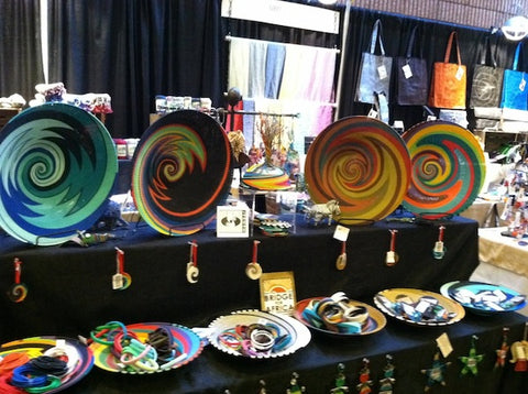 Beautiful pieces made from telephone wire in South Africa from Goods 4 U Global, a booth across from ours.
