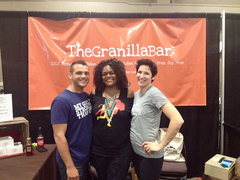 Me with Kevin and Denise Pomaski of my NEW favorite NON-MEAT snack, TheGranillaBar.