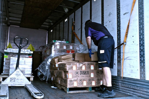FedEx delivers new Tanka Bars to the office warehouse.