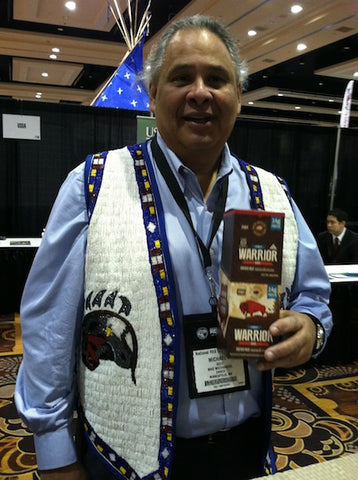 Michael Goze wearing a vest that Karlene Hunter's daughter Stephanie Hunter-Sorbel hand-beaded.