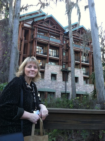 Linda Crider in front of the hotel she and Danaj stayed while at Disney in Florida for the show.