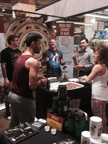 The Onnit booth featuring the Tanka Fund buffalo hide was constantly busy at the launch.