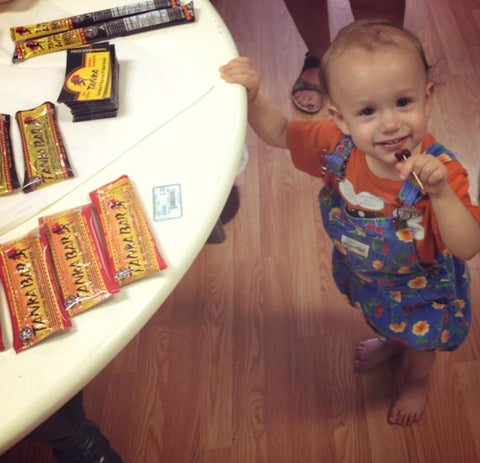 Orrin, 18 months, was not only excited to take a picture but was also pleased for the three chances to eat Tanka samples to get the right one. He kept eating them before I could snap a photo!