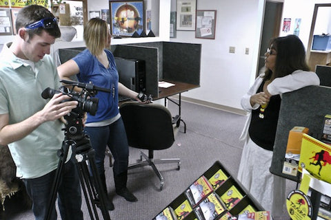 Karlene Hunter (right) speaks with KEVN reporters Zach Nugent and Tessa Thomas.