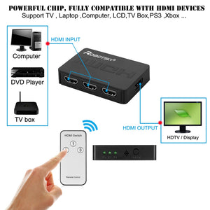 Port Hub Box Auto Switch 1080p HD with Remote - Port Hub Box Auto Switch  -  HD - HD with Remote - Box - Hub Box