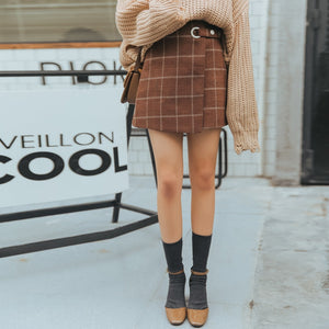 Cute Woolen Plaid Japanese Skirt