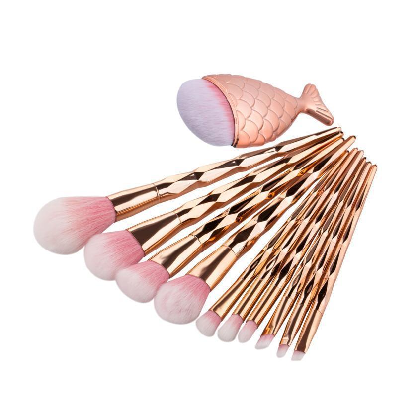 Queen Rose Gold 10 Pcs Brush Set | Eye Brush Set |  Makeup Brushes