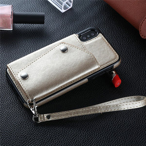 iPhone Retro Wallet Leather Cover Case