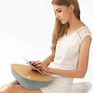 Multi-Function Lap Desk (Wood Top) for Laptop with Comfortable Cushion