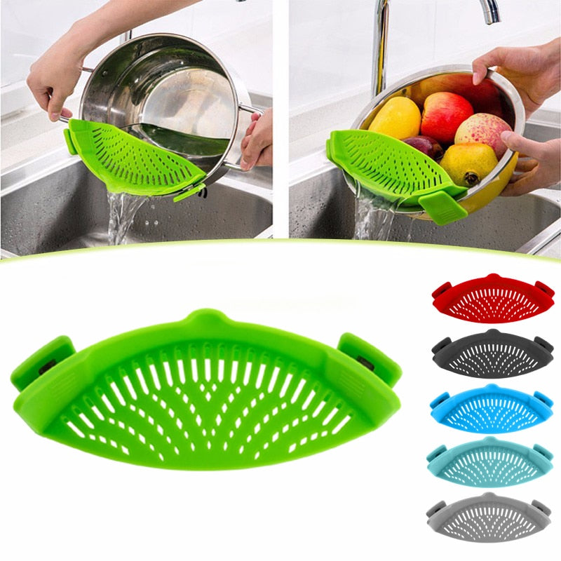 Silicone Pot Strainer | Silicone Colander | Clip-On | Kitchen Clip