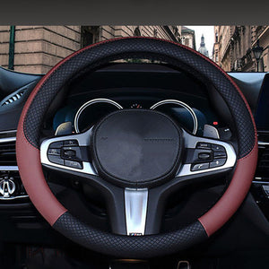 Trendy Leather Steering Wheel Cover