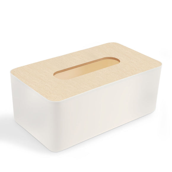 Homeware Bamboo Tissue Box Cover Holder - Bamboo DiariesWarm white / Rectangle