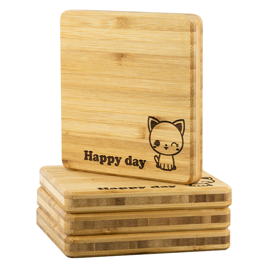 Personalized Bamboo Coaster - Happy day-Bamboo Diaries